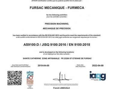 Furmeca - Fursac  - Certification Qualité 2019